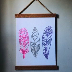 Feather Wall Art / Canvas with wood frame - Boho
